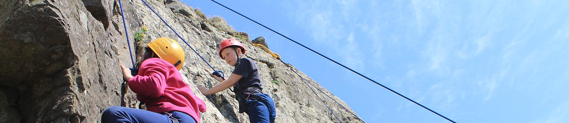 Rock climbing activity at Shoreline in Bude, Cornwall