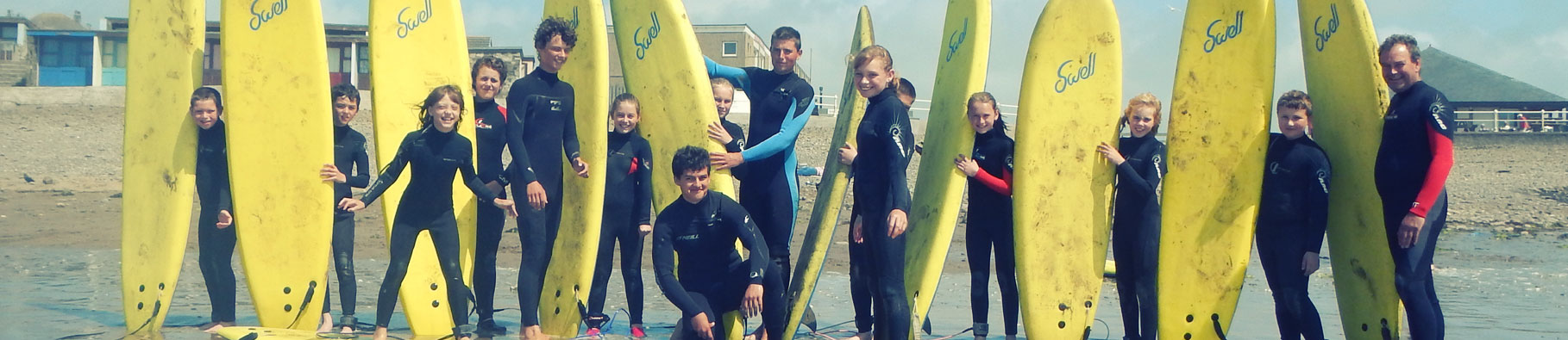 Surfing activity at Shoreline in Bude, Cornwall